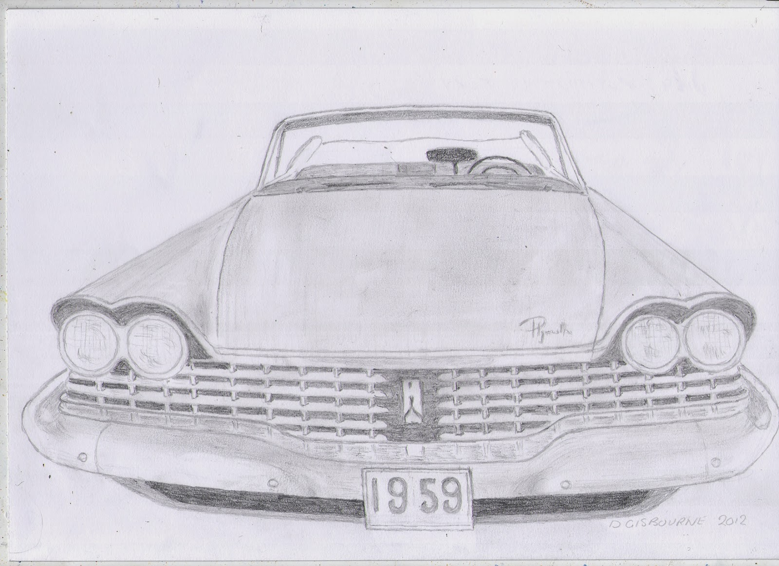 Classic Car Drawings: 1959 Plymouth Fury Original Pencil Drawing