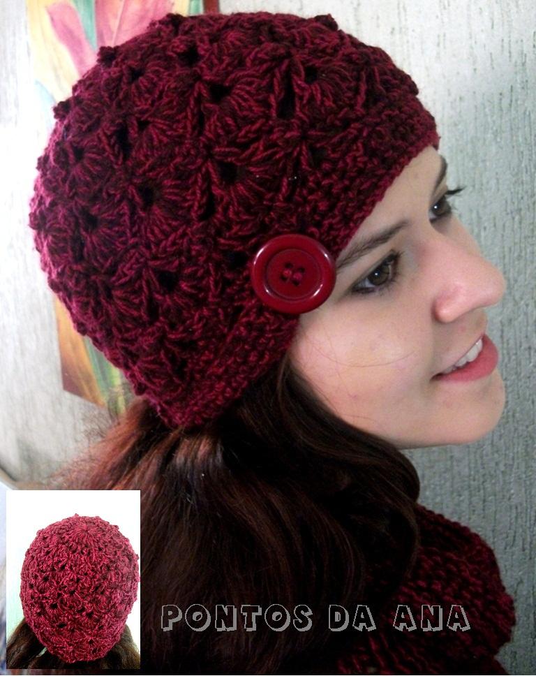 Gorro De Croch 234 Com Bot 227 O Lateral Crochet Com Arte