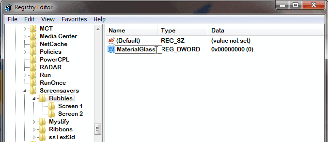 Bubbles Screen Saver di Windows 7