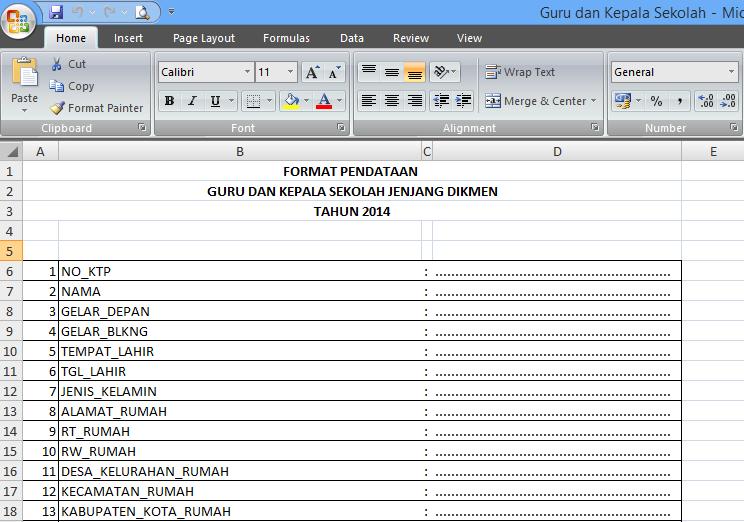 Dapodikmen Dalam Format Excel Agus Irawan Portal