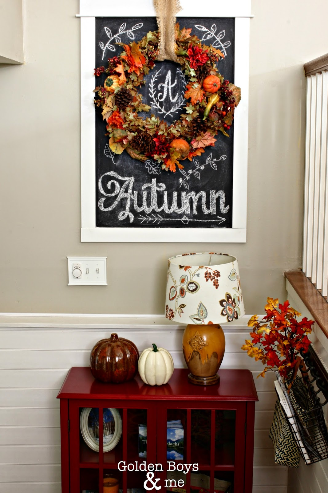 Autumn wreath chalk art display in entryway-www.goldenboysandme.com