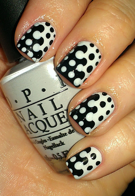 black and white merge mani