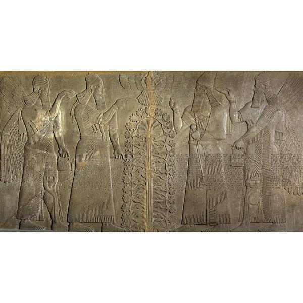 Nimrud ( antigua Kalhu ) , el norte de Irak Neo - Asirio , 870-860 aC  Este relieve asirio viene de la sala del trono del llamado Palacio noroeste de Asurnasirpal II (que reinó desde 883 hasta 859 aC) en Nimrud , en el norte de Irak . Fue colocada originalmente detrás del trono del rey.  Mismo Assurnasirpal aparece dos veces , se muestra desde dos lados , vestidos con túnicas rituales y la celebración de una maza que simboliza su autoridad. La figura del rey a la derecha hace un gesto de adoración a un dios en un disco alado en el centro de la parte superior del relieve. El dios, que es la fuente de poder del rey , puede ser Ashur , el dios nacional, o Shamash , el dios del sol y de la justicia. Tiene un anillo en una mano, un antiguo símbolo de la realeza mesopotámica dado por Dios . La figura del rey de la izquierda parece gesto hacia el llamado árbol sagrado que domina el centro del relieve. Esta combinación equilibrada de los vapores y el follaje es un símbolo de la fertilidad y la a