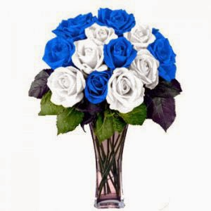 12 White and Blue Roses delivery in Cameroon