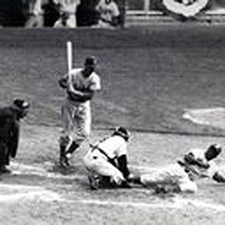 Jackie Robinson steals home in the 1955 World Series