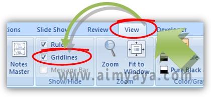 Gambar:  Cara Menampilkan atau menyembunyikan garis gridlines di Microsoft Powerpoint