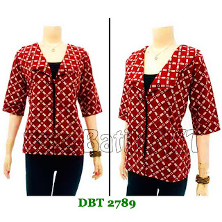 DB2789 Baju Bluse Batik Wanita Terbaru 2013