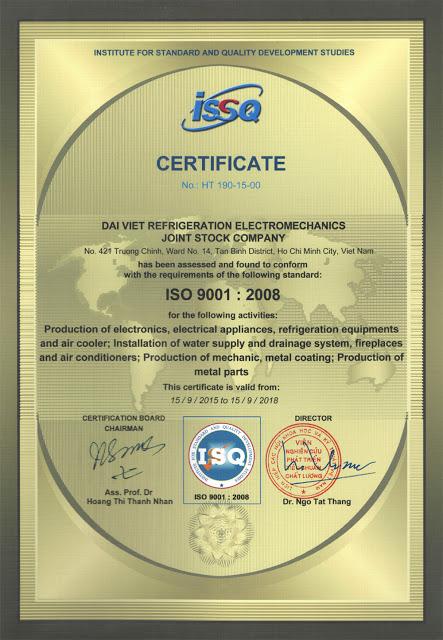 ĐẠI VIỆT HÂN HẠNH NHẬN CHỨNG CHỈ ISO 9001 – 2008
