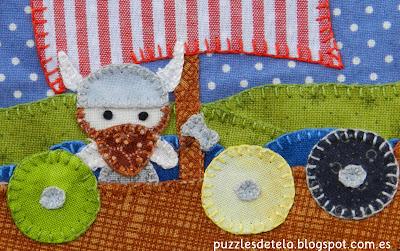 Bolsa de merienda, mochila, barco vikingo, patchwork, hecho a mano, handmade, puzzles de tela, mitología nórdica, Vikingos, barco vikingo, Vikings, Vuelta al cole, regalos para niños, bags,