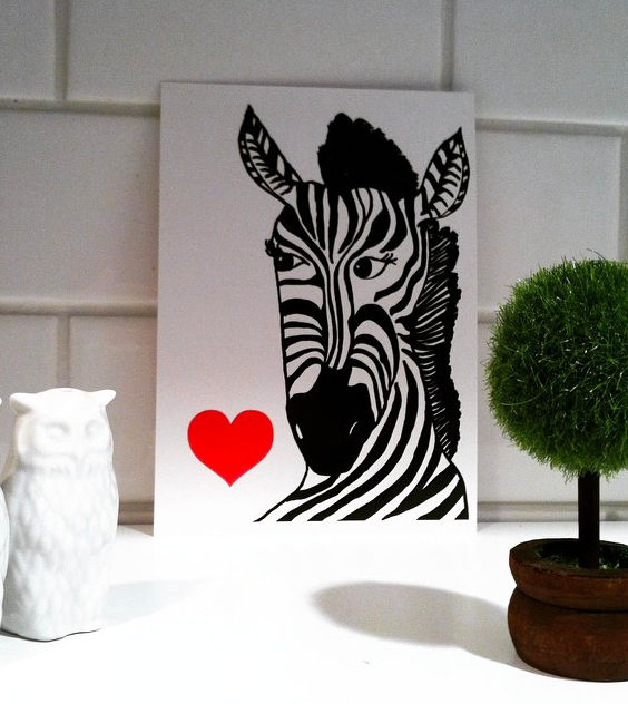 Zebra Love Valentine's Day postcard at The Blog Guidebook