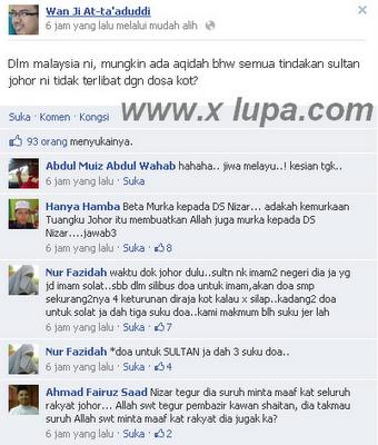 Status Facebook Ustaz Wan Ji At Hina Sultan Johor