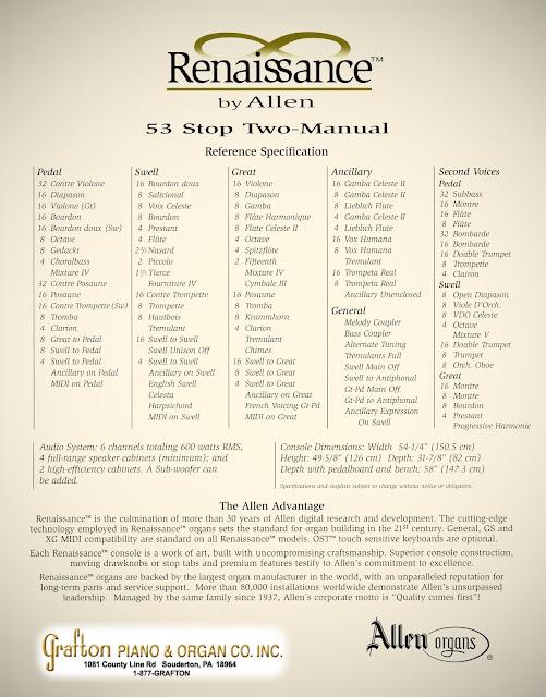 Stoplist of used Allen Organ R-281