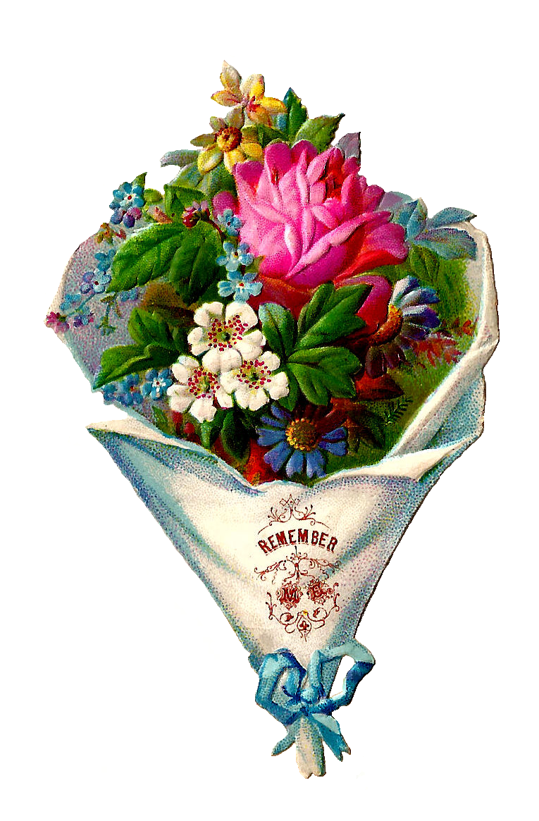 Antique Images Free Flower Clip Art Victorian Die Cut Of