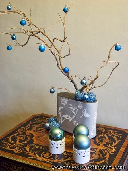 Decoracion de mesas mesa navidad 2012 en dorado y azul - Arbol de navidad con ramas ...