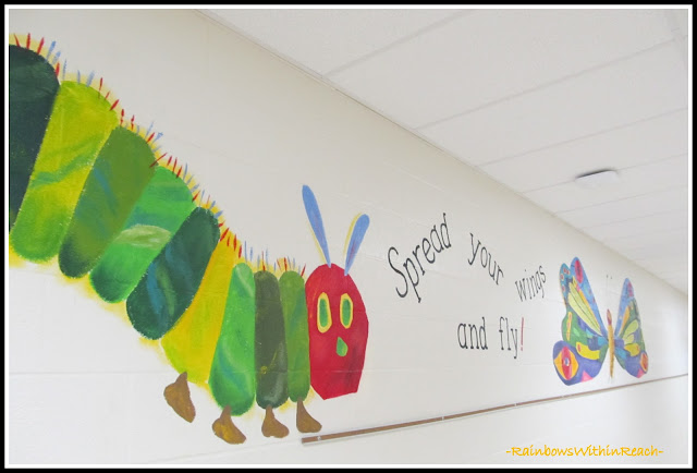 photo of: School Wall Mural of Very Hungry Caterpillar Characters (via RainbowsWithinReach)