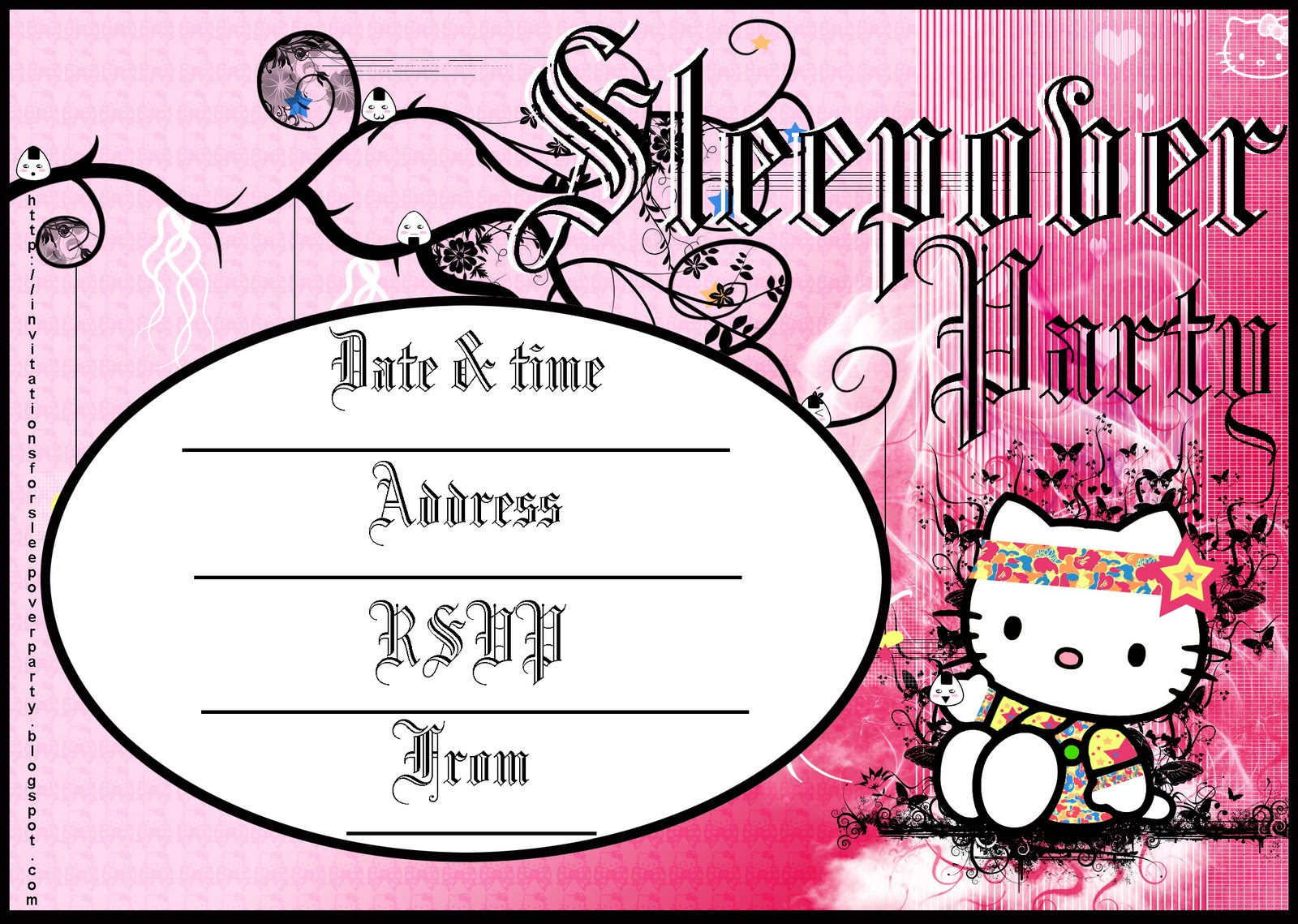 take your pick here are four invitations to a sleepover party all four are free and easy to print all four are also blank so that you can fill in