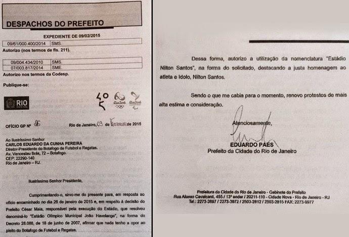 Agora é oficial: Eduardo Paes homologa Nilton Santos como nome oficial do Engenhão