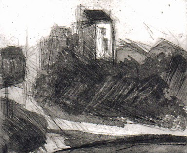 Uschi Krempel: Haus in den Dünen, Radierung, 2014