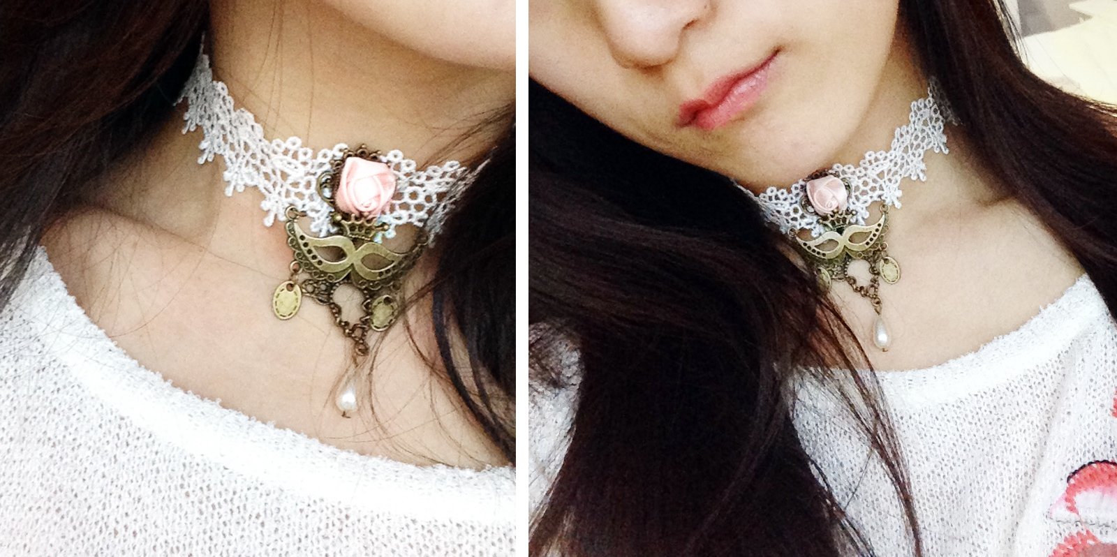 Photos of Born Pretty Store's lolita lace choker when worn. Has a delicate pearl, embroidered metal, and rose.