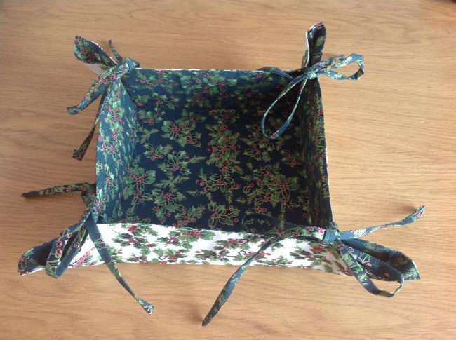 finished Christmas gift basket dark green inside