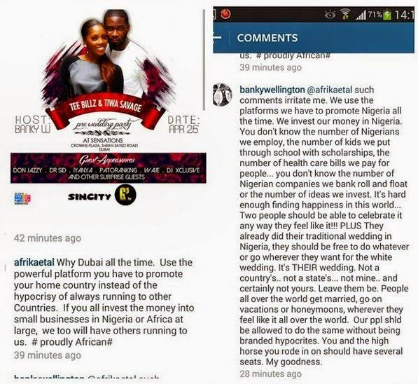Banky W blasts fan for criticizing Tiwa Savage's Dubai ...