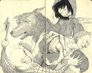 ammon_perry_red_riding_hood_fairytales_wolf_axe_drawing_draw_sketch_illustration_dentist_moleskin_exchange_pen_ink_sketchbook