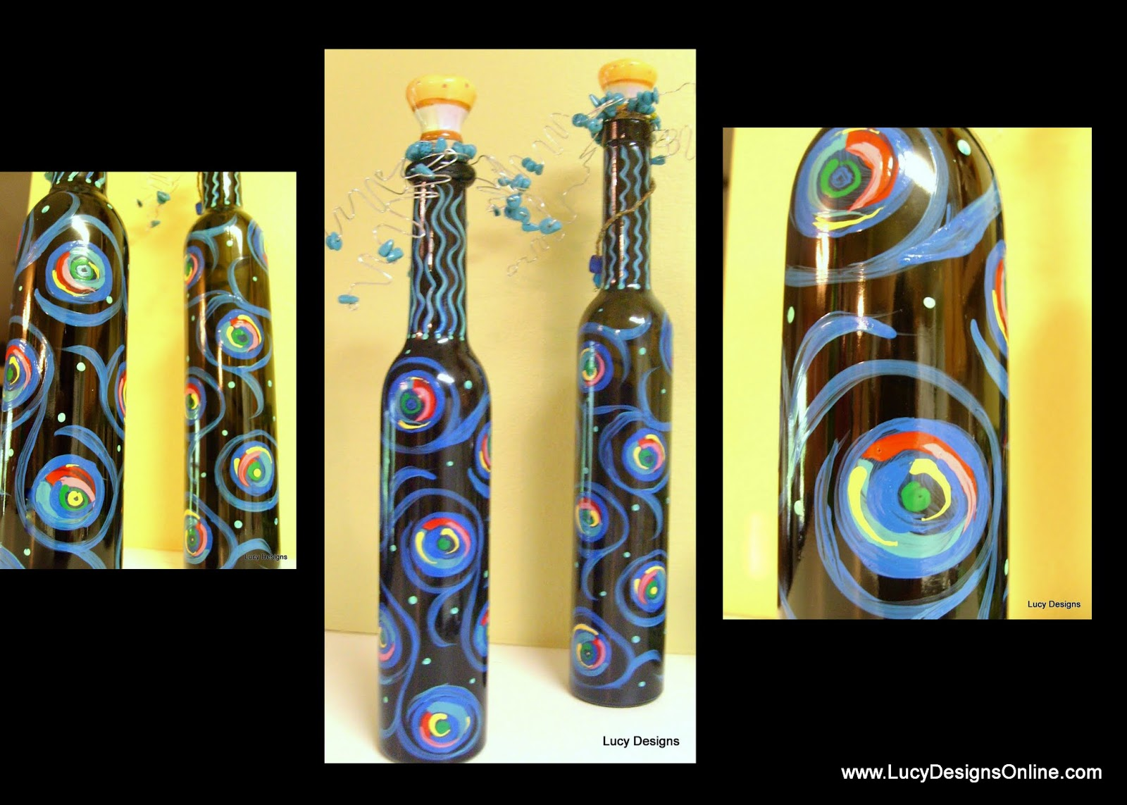 hand painted glass bottles with diy stoppers
