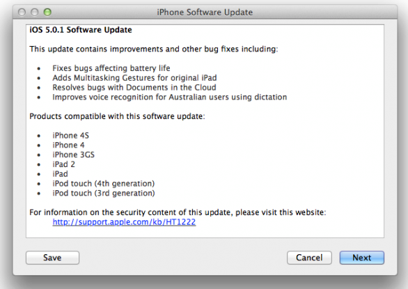 iOS 5.0.1 Firmware Software Update