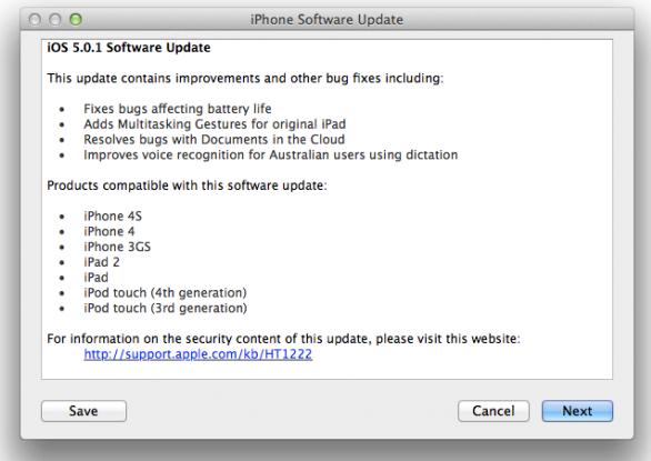iOS 5.0.1 Firmware Software Update