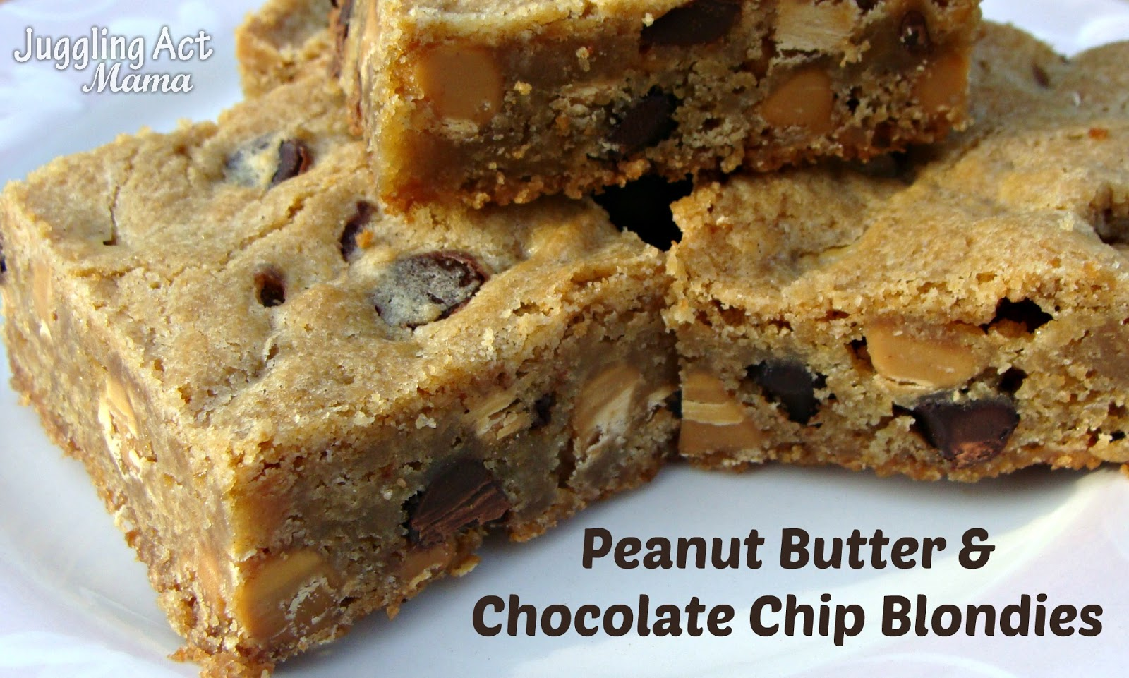 Peanut Butter & Chocolate Chip Blondies {#PasstheCookbook} - Juggling ...