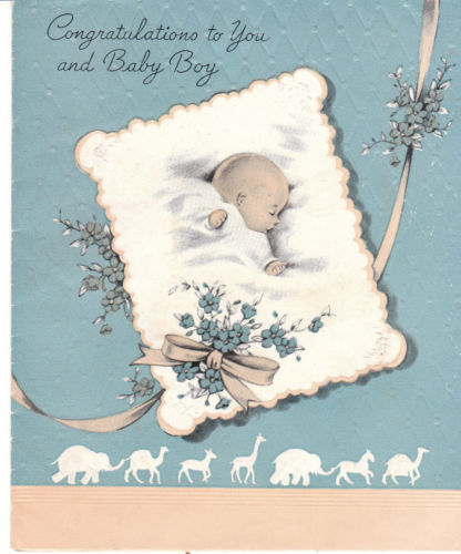 My pretty baby cried she was a bird my pretty baby cried she was a vintage baby greeting card boy blue background m4hsunfo