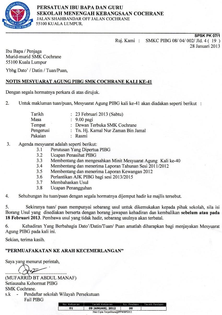 Notis Mesyuarat Agung PIBG 2013-23 Februari 2013