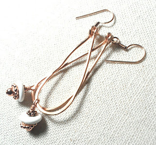 Copper Loop Earrings with Magnesite for Calming at Just A Tish Designs on Etsy
