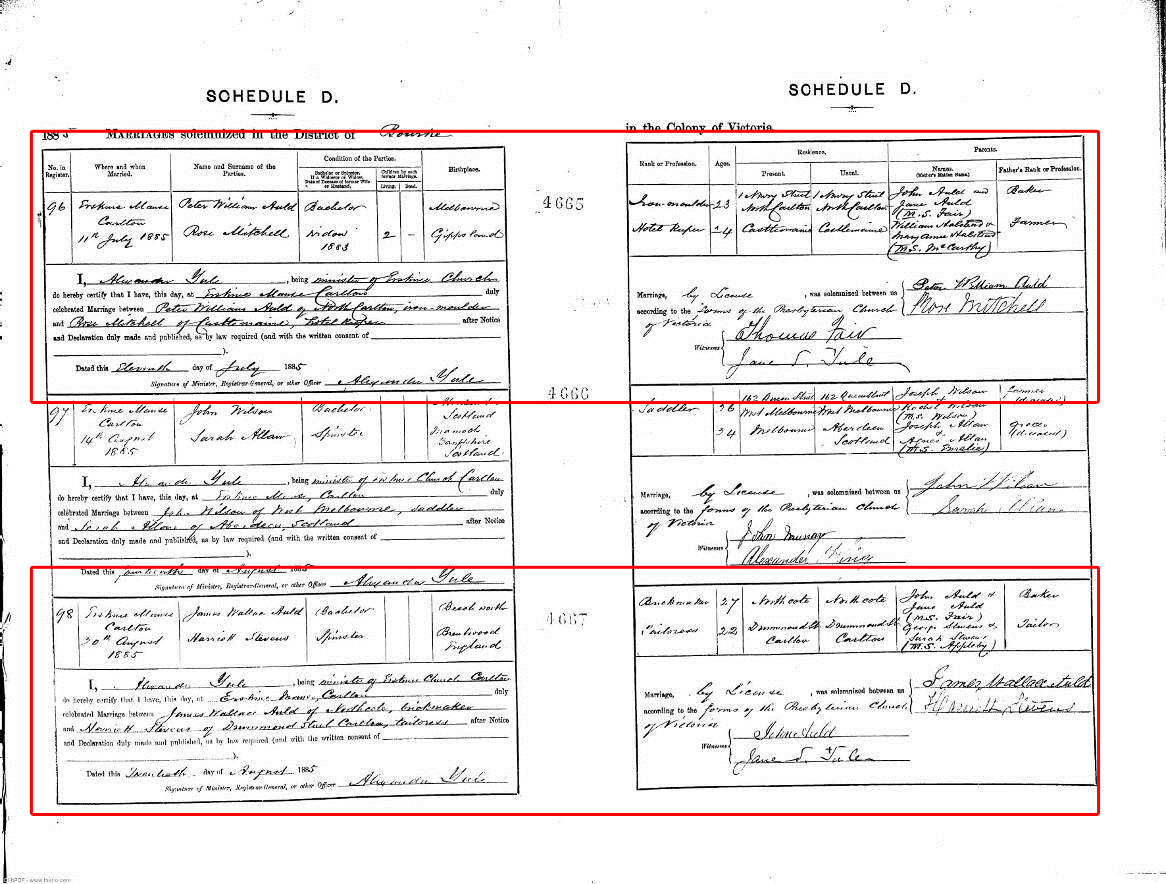 Auld genealogy august 2013 source online image of victorian marriage certificate for peter william auld and rose mitchell married 11071885 registered in the registration district yadclub Choice Image
