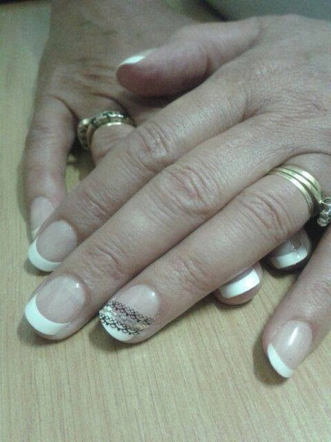 acrylic backfill LED polish manicure Pre-New Year Nails: French white acrylics with lace decal for feat Gel-Nails-Polish-LED-Polish-LED-Nails-Acrylic-Nails-Nail-Art