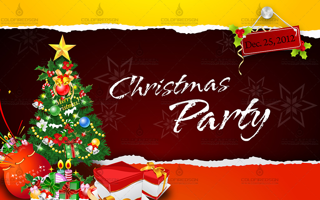 Colorful Christmas Party Tarpaulin PSD