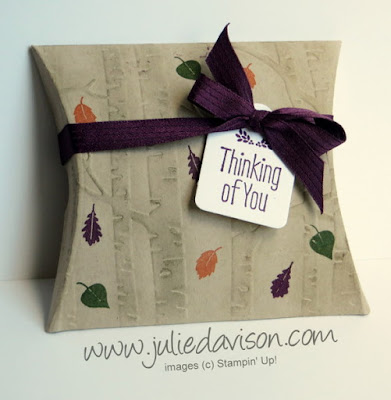 Stampin' Up! Among the Branches Woodland Square Pillow Box + Video #stampinup #giftgiving www.juliedavison.com
