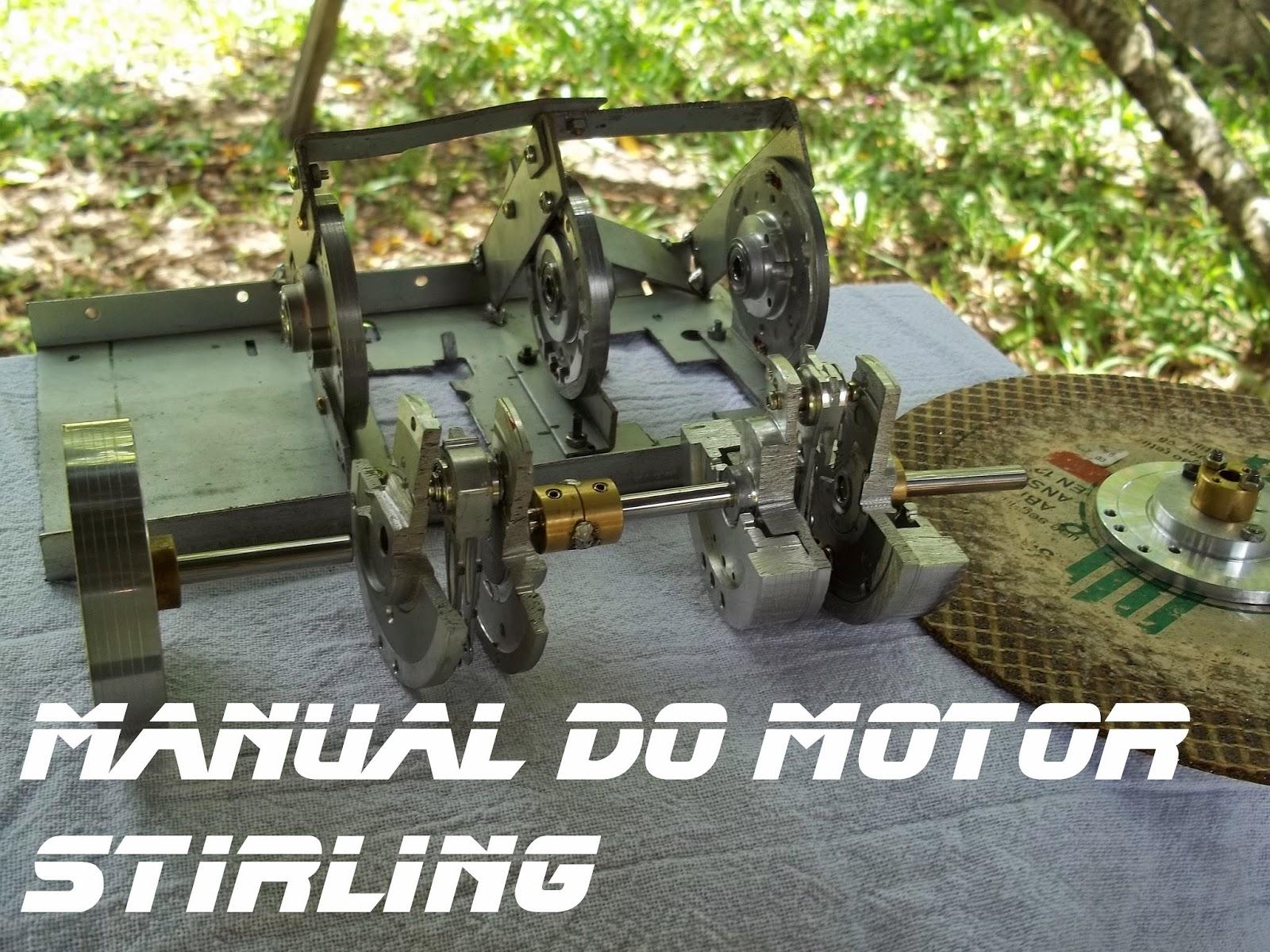 Pré disposição de todas as peças para a montagem do virabrequim, Manual do motor Stirling
