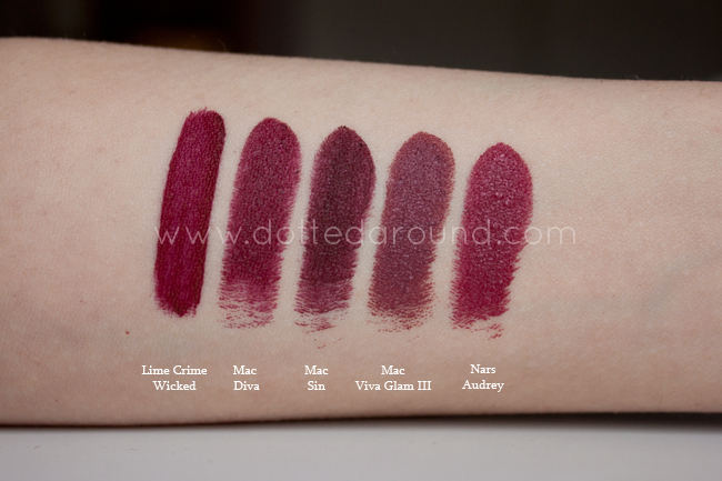 lipsticks mac diva nars audrey wicked lime crime swatch