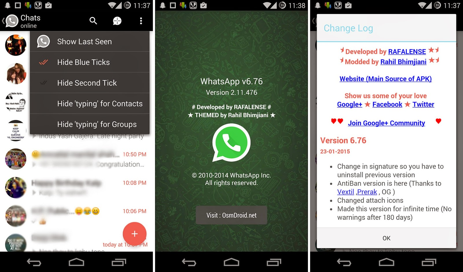 WhatsApp+ Plus v6.76 Material Modded Cracked Proof Screenshot