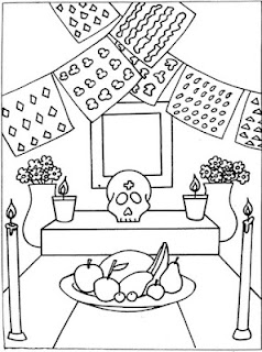 Dibujos para colorear del dia de los muertos ofrenda mexicana