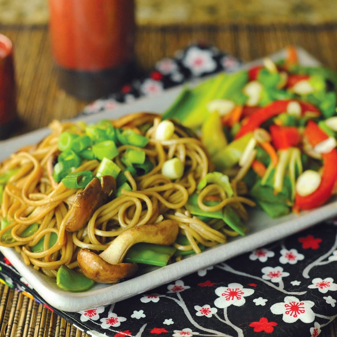 Soba noodles or whole wheat linguine can be used in this chicken dish.