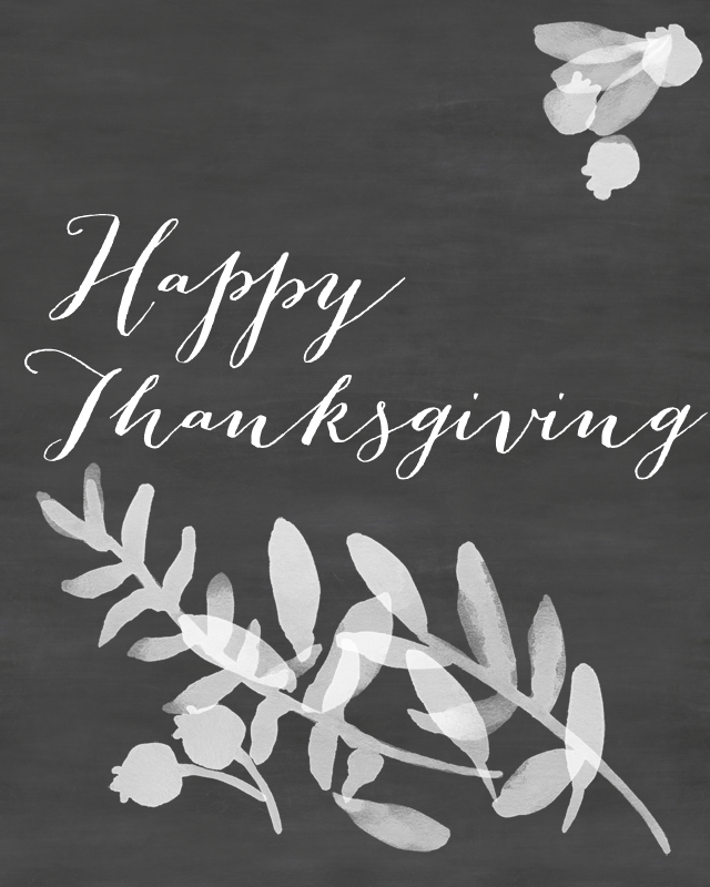 Happy Thanksgiving Chalkboard Printable