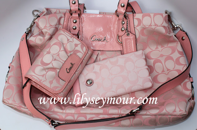 Coach Signature Pink Handbag and Wallet