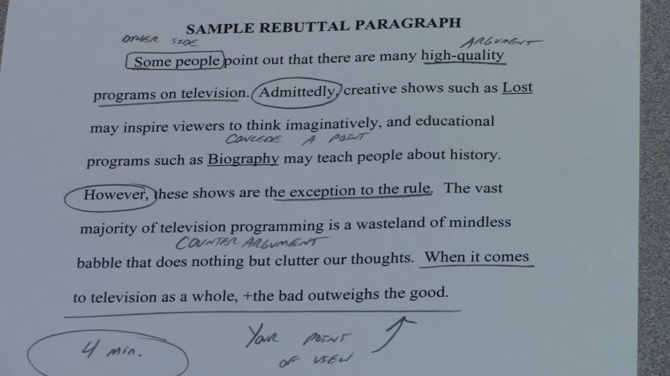 how do you write a rebuttal paragraph in a persuasive essay