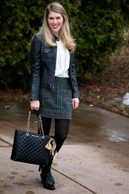 tweed mini skirt and moto jacket