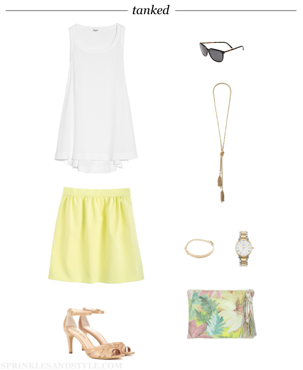 Sprinkles and Style || Friday's Fancies: Tanked, J. Crew Double Crepe Skirt, Kate Spade Gramercy Watch, K.slademade Floral, Burberry Sunglasses, Splendid Vintage Whisper, Sole Society Gianna Cutout Sandals, Adia Kabur Bracelet, BaubleBar Iced Lariat Necklace