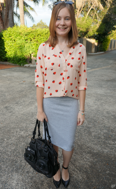 Choies pink strawberry print shirt grey marle jersey pencil skirt heels office wear