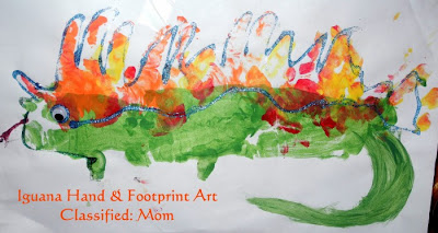 Hand and Footprint Lizard (Iguana) Kid's Craft