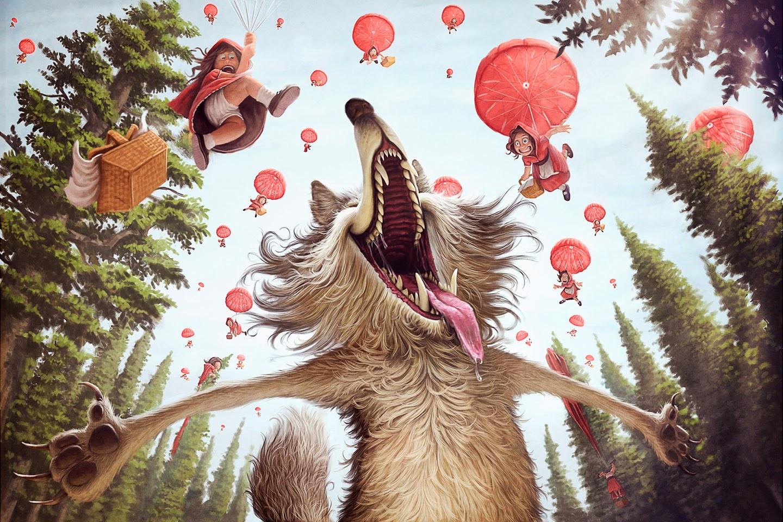 illustration de Tiago Hoisel représentant le grand méchant loup extatique devant une pluie de petits chaperons rouges